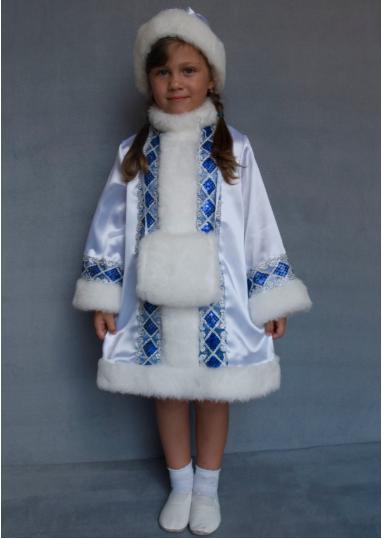 Карнавальный костюм Снегурочка для девочек 5-6 лет белый