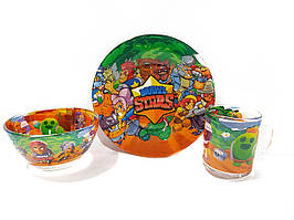 Детский набор стеклянной посуды для кормления Browl Stars (Брoвл Старс) 3 предмета Metr+
