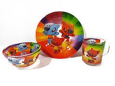Детский набор стеклянной посуды для кормления Ми Ми Мишки 3 предмета Metr+