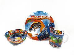 Детский набор стеклянной посуды для кормления Hot Wheels (гонки) 3 предмета Metr+