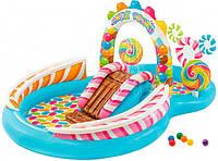 Детский надувной игровой центр Intex бассейн с горкой и распылителем Карамель 57149