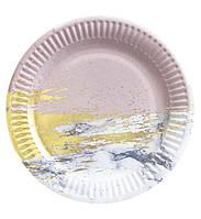 """Тарелки бумажные одноразовые детские """"Розовый мрамор с золотом"""" 18 см,10 шт."""