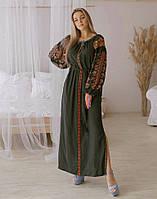 """Сукня вишита на попліні """"Лілея хакі"""" розмір, фото 1"""