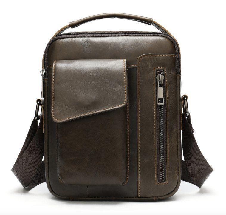 Кожаная мужская сумка Vintage 20095 Коричневая