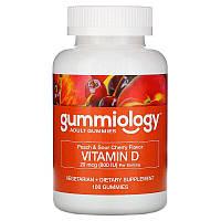 Gummiology, Жевательные таблетки с витаминомD3 для взрослых, натуральный вкус персика и вишни, 100вегетарианских жевательных таблеток