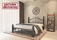 Кровать металлическая двуспальная Анжелика на деревянных ножках