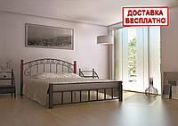 Кровать металлическая двуспальная Афина на деревянных ножках