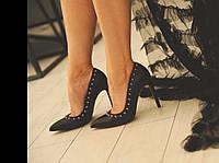 Женские Туфли лодочки SOFIMARAT Черные с шипами (38 размер)