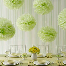Декор бумажные Помпоны 20см (желто-зеленый), фото 2