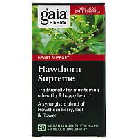 Gaia Herbs, Hawthorn Боярышник экстракт, для сердца 60 вегкапсул с жидкостью