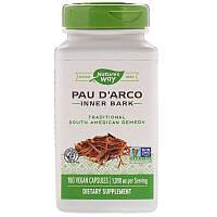 Nature's Way, Кора муравьиного дерева, Pau d'Arco внутренний слой коры1090 мг, 180 веган капсул