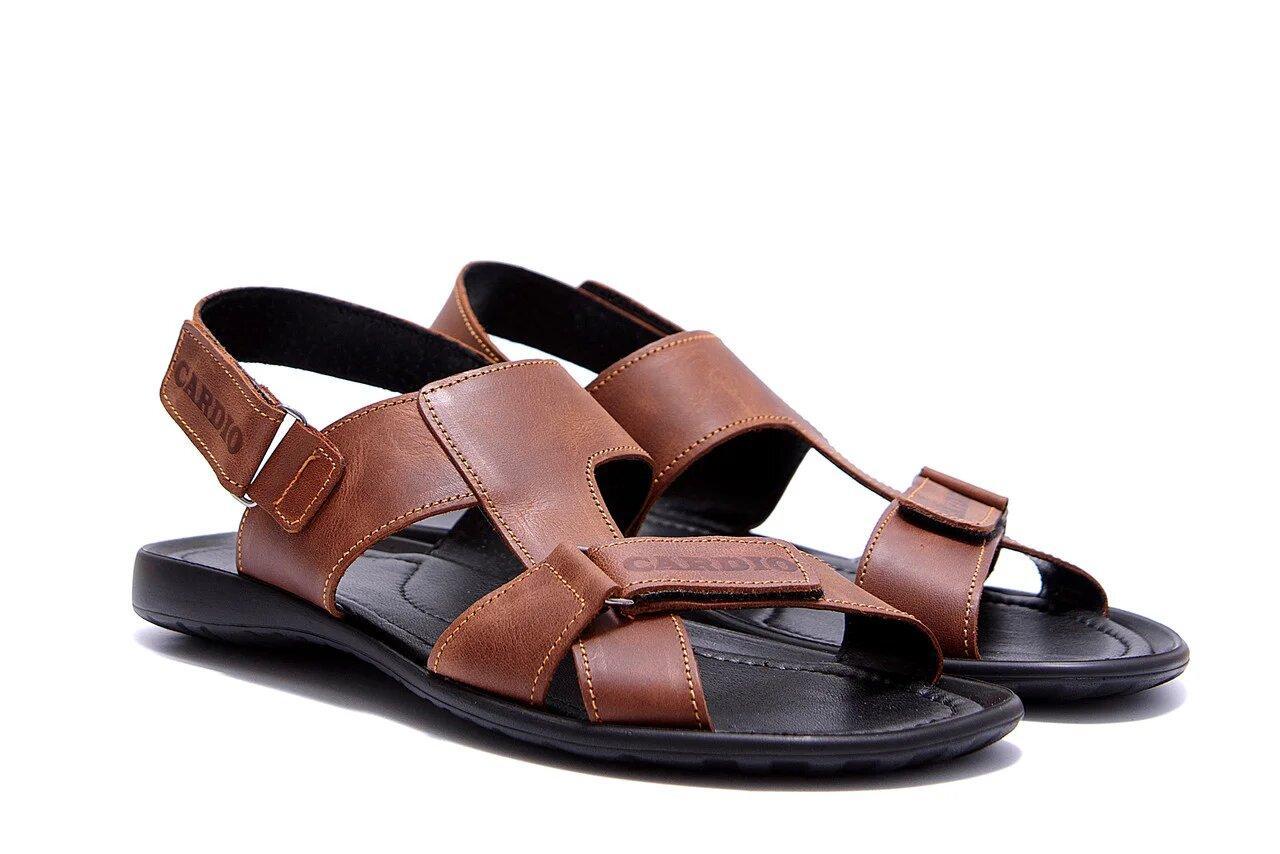 Мужские кожаные сандалии KARDIO Brown р  40 42 43 44 45