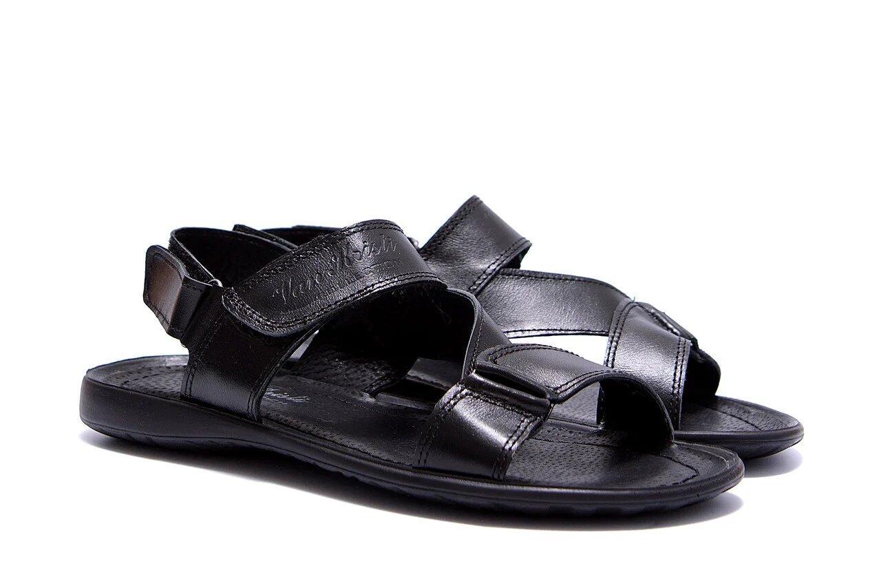 Мужские кожаные сандалии VanKristi  Black р 43