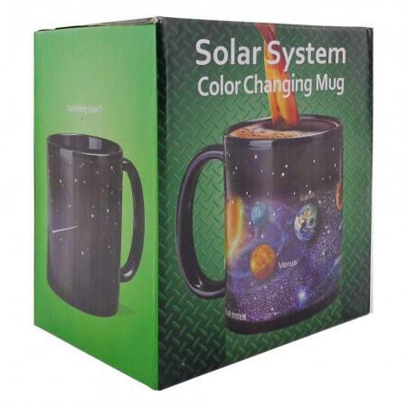 Кружка хамелеон с принтом Солнечная система, фото 2