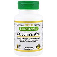 California Gold Nutrition, Экстракт зверобоя, EuroHerbs, европейское качество, 300 мг, 60 растительных капсул