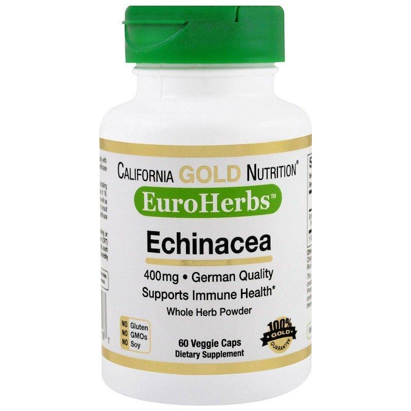 California Gold Nutrition, Эхинацея, EuroHerbs, порошок, 400 мг, 60 растительных капсул