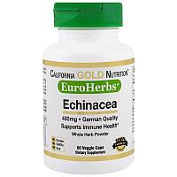 California Gold Nutrition, Эхинацея, EuroHerbs, порошок, 400 мг, 60 растительных капсул, фото 1
