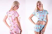 Трикотажная женская пижама футболка с шортами /Мороженки/ разные цвета, S-L