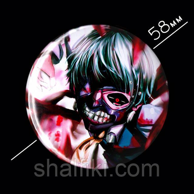 """Кэн Канэки (Токийский гуль / Tokyo ghoul)"" значок круглый на булавке, Ø58 мм"
