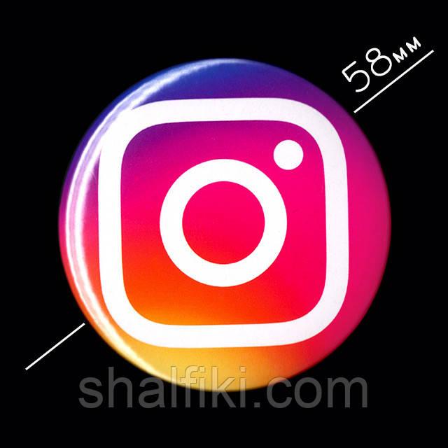 """""""Instagram / Инстаграм"""" значок круглый на булавке, Ø58 мм"""