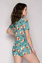 Трикотажная женская пижама футболка с шортами /Лисички/ разные цвета, S-L, фото 3