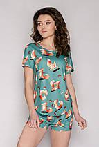 Трикотажная женская пижама футболка с шортами /Лисички/ разные цвета, S-L, фото 2