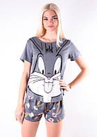 Трикотажная женская пижама футболка с шортами /Кролик/ серый, S-L