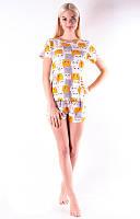 Трикотажная женская пижама футболка с шортами /Кошечки/ оранжевый, S-L