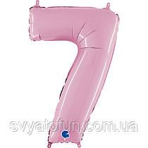 """Фольгированный шар-цифра 7 пастель розовый 26"""" Grabo"""
