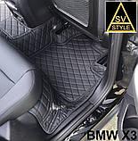 Килимки на BMW 5-series F10 з Екошкіри 3D (2009-2017) з текстильними накидками, фото 7