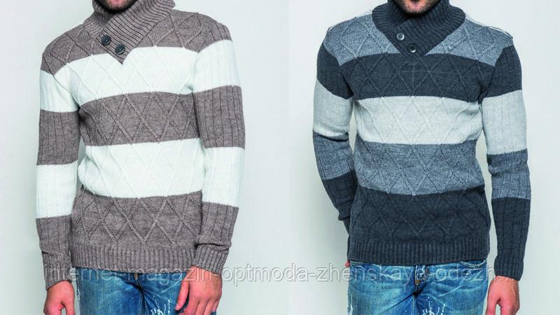 """Телый модный мужской свитер с оригинальным воротником """"Ричард"""" шаль"""
