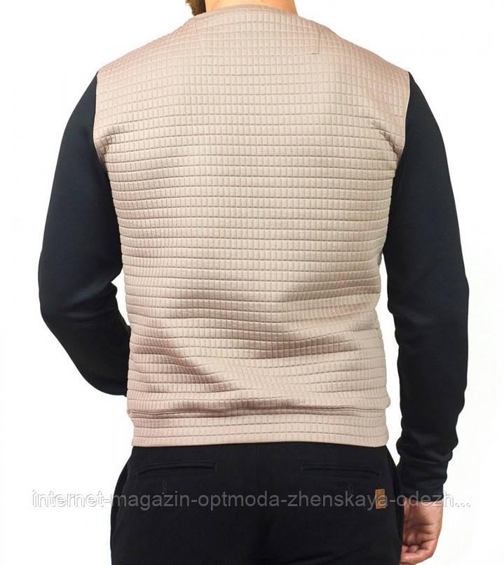 Стильный мужской джемпер из вискозы, размеры: 46, 48, 50, 52, 54, 56, цвет капучино с черными рукавами