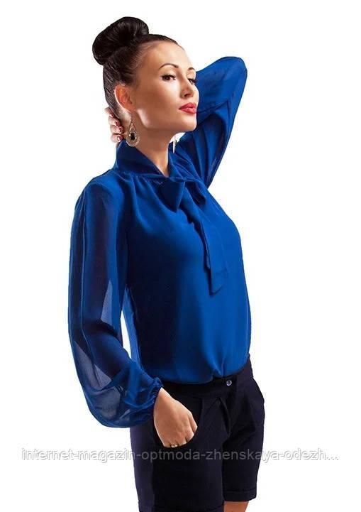 Классическая однотонная женская блузка , шифон , размеры 42, 44, 46, 48, 50