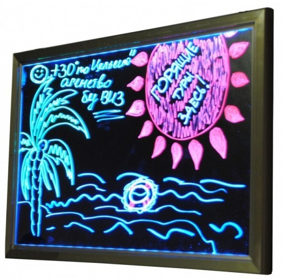 Рекламная светящаяся LED доска 600х800 ( флуоресцентная ) 600 х 800 fluorecent board 60*80