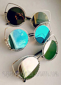"""Женские солнцезащитные очки зеркальные с камушками """"Кошечки"""""""
