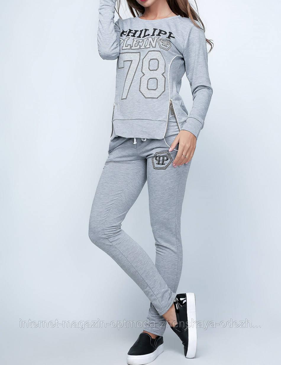 Женский спортивный осенний костюм, двухнитка, размер S, M, L, XL, серый, бордовый, коралл, светло-голубой