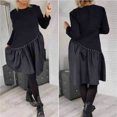 Шикарна жіноча асиметричне плаття великих розмірів, верх двухнитка,плащівка низ, 50-52/54-56/58-60,чорне