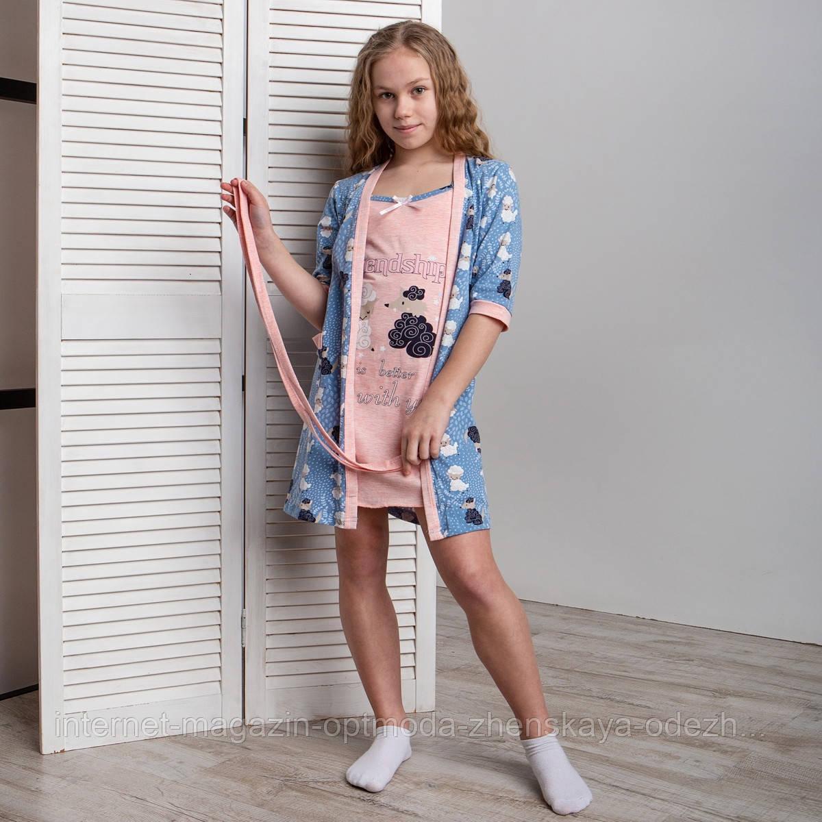 """Комплект девичий сорочка и халатик с барашками """"Filini"""""""