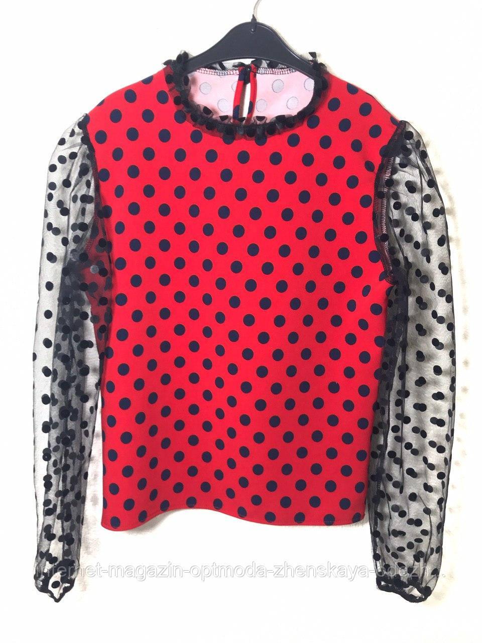 Красивая женская кофточка с рукавом в горошек,размер:42-44, черный, красный, бежевый, пудра