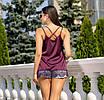 """Кружевная блуза, Шелк """"Армани"""", размер 42-44, 46-48, красный, мята, бордовый, молоко, фото 4"""