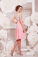 Нарядное красивое гипюрное платье с пышной юбкой без рукав для торжества, на выпускной - 42, 44, 46