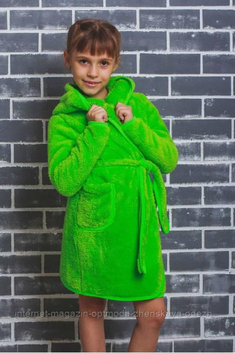 Детский махровый халат на запах, рост 128, 134, 140, цвета - коралл, салатовый, электрик, бордовый