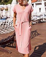 Трикотажное летнее платье с люрексом, размер универсальный 42-46, серый, пудра, антрацит