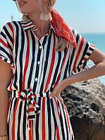 Стильное платье-рубашка в полоску на пуговицах, размеры: S (42-44), M (44-46)