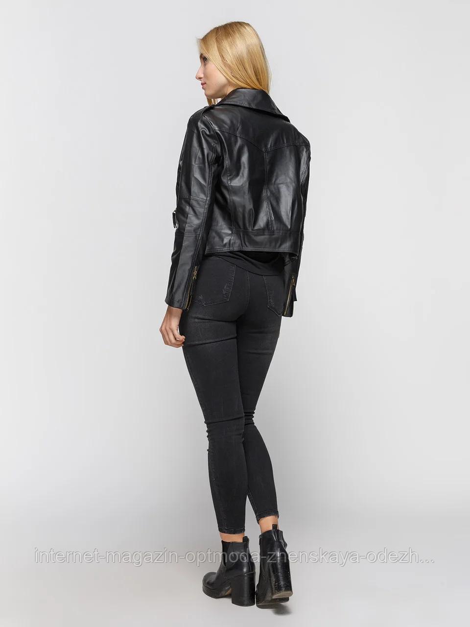 Кожаная куртка женская косуха черная и пудра