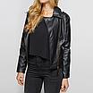 Кожаная куртка женская косуха черная и пудра, фото 3
