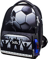 Ортопедический рюкзак (ранец) для школы с мешком и пеналом черный для мальчика Delune с Футболом для 3-6