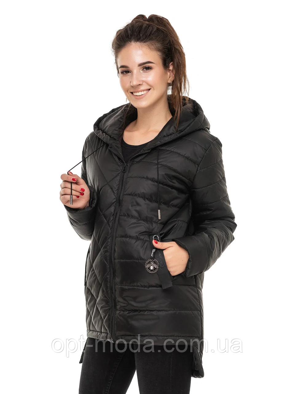 """Жіноча подовжена куртка з асиметричним низом великих розмірів """"Стелла"""""""