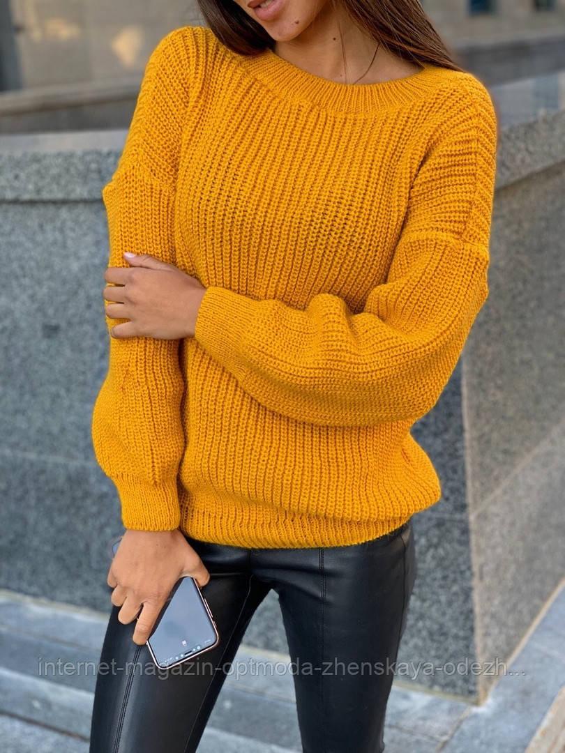 Свободный вязаный женский свитер, размер универсальный 42-48, расцветки разные