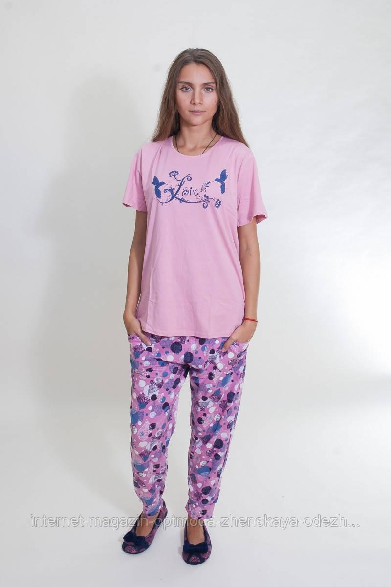 Женская батальная пижама с птичками, 95% хлопок, 5% эластан, размеры 2ХЛ, 3ХЛ, 4ХЛ